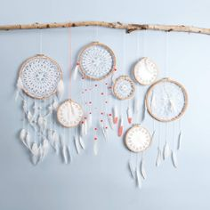 Anleitung Traumfänger basteln – Keep up with the times. Making Dream Catchers, Blue Dream Catcher, Crafts For Girls, Diy And Crafts, Arts And Crafts, House Lamp, Roof Light, Hanging Shelves, Bohemian Decor