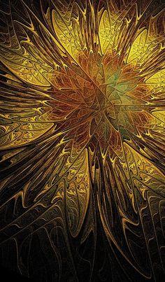Sunflower - fractal art by Amanda Moore Fractal Design, Fractal Art, Fractal Images, Fractal Geometry, Sacred Geometry, New Media Art, Sunflower Art, Wow Art, Mellow Yellow