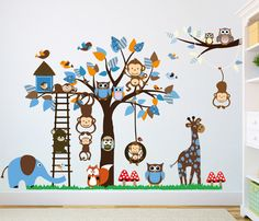 WALLSTICKER Träd blå