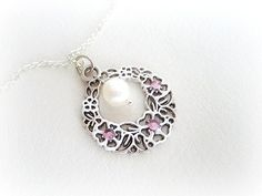 Delicate freshwater pearl charm necklace by MalinaCapricciosa, $15.00