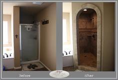 Stone arch, no door. walk-in shower with no door