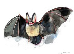 bat painting. mixed media on paper.