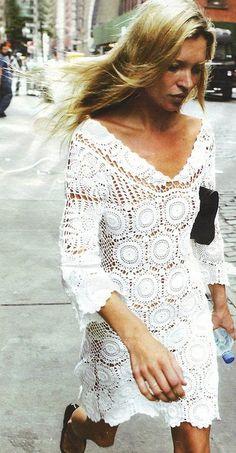 crochet dress on Kate Moss