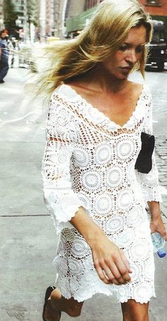 crochet dress on Kate Moss