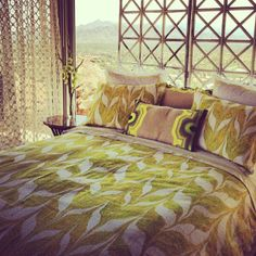 new yellow & green marbleized bedding looks great! #trinaturkprint #trinaturkresidential