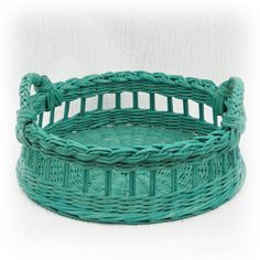 Поднос плетеный круглый бирюзовый от WeavingAndVintage на Etsy