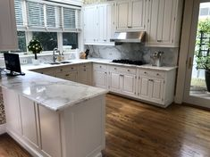 Kitchen cabinets sprayed with Fine Paints of Europe Hollandlac Satin Oak Kitchen Cabinets, Old Cabinets, Kitchen Hardware, Painting Kitchen Cabinets, Kitchen Cabinet Design, Kitchen Paint, Fine Paints Of Europe, Travertine Floors, New Countertops