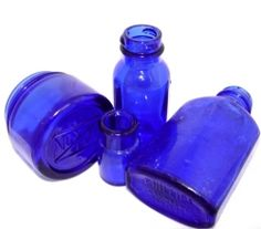 Cobalt Blue Bottles (Noxema, Milk of Magnesia, Bromo) become blue sea glass pendant Copyprotect 2000 By The Sea Jewelry all rights reserved! Antique Bottles, Bottles And Jars, Small Bottles, Sea Jewelry, Himmelblau, Blue Bottle, Vintage Bottles, Crazy Colour, Duck Egg Blue