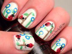 Ladybug nail art. #simplyhandyallyear