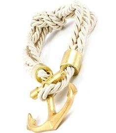 White Cord Anchor Bracelet