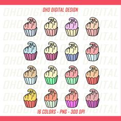 Colors CupCake Clip art, illustrations PNG, Planner Stickers Commercial Use by OHODIGITAL on Etsy
