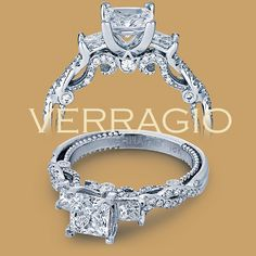 Verragio 14 Karat Insignia-7074P Engagement Ring    VINTAGE STYLE But in the emerald cut on all 3 stones... My perfect ring
