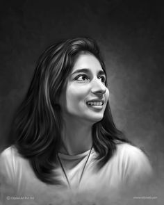 Portrait painting of young girl created by Oilpixel. Gift uniquely created digital portrait painting masterpieces for your family, friends or that special someone. Digital Portrait, Black And White Portraits, Cannes, Paintings, Friends, Gift, Amigos, Paint, Painting Art