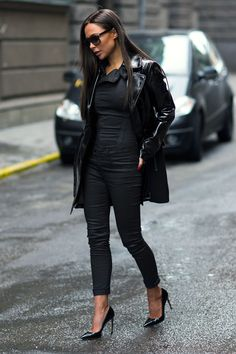 Johanna Olsson is wearing a leather jacket from Guess, black shoes from Bally, and the black jumpsuit is from G-Star