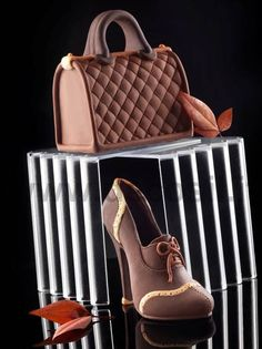 Set Lady handbag   Frenc Shoe Chocolate by RUSTIKOcakeDecoratio
