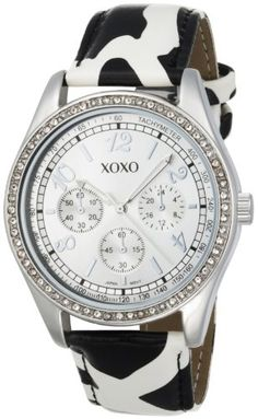 XOXO Women's XO3170 Silver Dial Black and White Giraffe Strap Watch for $19.99