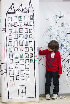 fun idea for an art festival, give each table a section then build the tower. Combine each classes tower to make a cityscape. Projects For Kids, Diy For Kids, Class Projects, City Drawing, Drawing Artist, Collaborative Art Projects, Creative Curriculum, Ecole Art, Preschool Art