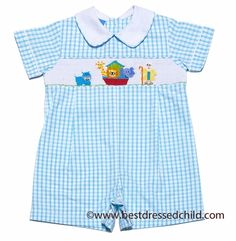 Anavini Infant Boys Turquoise Check Seersucker Smocked Noah's Ark Romper