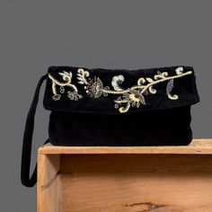 Black Beaded Purse Velvet Evening Bag by recyclinghistory on Etsy, $30.00