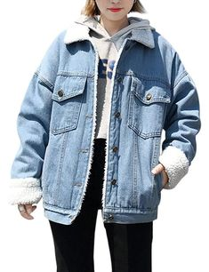 28a03e23150 Jenkoon Women s Oversized Thick Warm Sherpa Fur Lined Denim Trucker Jacket  Boyfriend Jean Coat (Light Blue