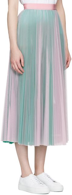 MSGM - ピンク & グリーン チュール スカート Green Tulle Skirt, Diy Tulle Skirt, Skirt Outfits, Dress Skirt, Midi Skirt, Formal Skirt, Formal Dresses For Women, Pastel, Style Inspiration
