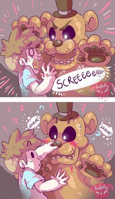 "Oh yea here's a little thing."" poster with Freddy Bonnie and Chica have a little Easter egg to it. Click(on computer) or tap(on Mobile phone iPad etc.) on Freddy's nose! And guess what? It squeaks/honks like those party blower things! Five Nights At Freddy's, Fnaf Wallpapers, Pedobear, Scary Games, Flipper, 2 Kind, Freddy 's, Anime Fnaf, Fnaf 1"