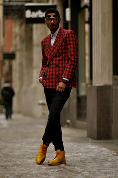 DapperLou.com | Men's Fashion & Style Blog | Street Style | Online Shopping : Street Gents | Shaun Paige Styles a Double Breasted Check Blazer#.UfyiAinn8eE