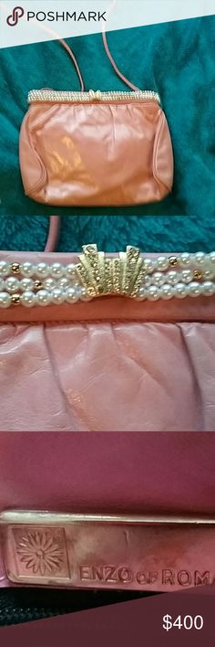 Pink and pearl handbag Gorgeous Pink leather bag, over shoulder or clutch w pearls and gold embellishments, have shoe to match, size 8 , worn to dinner w celebrity gathering Enzo of Roma Bags Mini Bags
