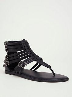 Black T-Strap Gladiator Sandal, BLACK