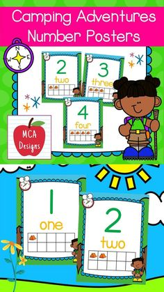 These adorable number posters are part of my Camping Adventures classroom decor collection. Each poster is accented with bright colors and camping themed graphics :) This set features numbers 1-20 including corresponding ten-frames for the visual learner. #teacherspayteachers #tpt
