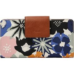 Fossil Emma RFID Tab Clutch - Navy Floral - Women's Wallets ($60) ❤ liked on Polyvore featuring bags, handbags, clutches, blue, floral clutches, snap closure purse, blue purse, navy handbags and blue clutches