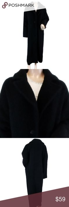 """Eileen FIsher Boiled Wool Long Car Coat Awesome Eileen Fisher boiled wool long car coat with notched collar, and oversized buttons.  Perfect for a chic night out over a silky slip dress or layer over a work ensemble for a chilly late fall/winter day.  Coat is gently used, but still in very good condition; inside tag is ripped.  95% wool, 5% nylon.  Length from back neck seam 48"""", across bust 25.5"""". Eileen Fisher Jackets & Coats Trench Coats"""