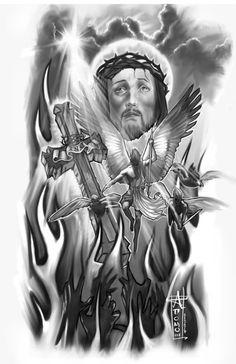 Jesus n Devil Tattoo Design photo - 5