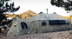 Cabela's Sells A 'Tent Mansion' That's Bigger Than Most Apartments Small Tent, Large Tent, Family Camping, Go Camping, Camping Ideas, Camping Hacks, Mansion Prices, 12 Person Tent, Canvas Wall Tent