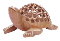 "Bulk Wholesale Hand-Carved 3.2"" Kadam Wood Statue / Sculpture of Tortoise Enhanced with Intricate Jaali / Filigree Work – Old Indian Art – Rich Home Décor"
