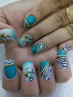 I don't like the floral and the zebra stripe together (too busy & they don't blend well, stylistically), but I like both of them separate! Cute Nails, Pretty Nails, Square Oval Nails, Aqua Nails, Exotic Nails, Nail Candy, Flower Nail Art, Rhinestone Nails, Beautiful Nail Designs