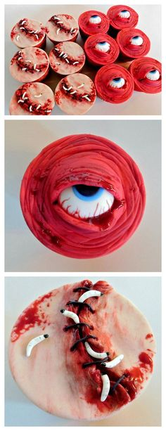 DIY Creepy Cupcakes Tutorial from Instructables' User Wold630.Make these DIY Creepy Cupcakes using fondant. You can buy premade fondant or make it yourself. The detailed tutorials are for flesh wound and eyeball cupcake toppers. There is also a very...