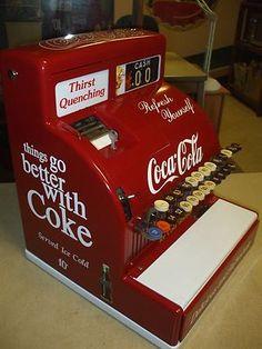 Antique Coca Cola Items | 1950's Coca-Cola themed antique national cash register arcade gaming ...