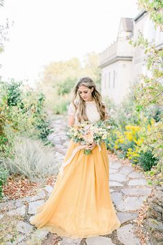 Everything about this whimsical boho bridal shoot is soft and romantic, from the elegant bridal separates in goldenrod yellow to the stunning pastel bridal bouquet! Yellow Wedding Dress, Stunning Wedding Dresses, Princess Wedding Dresses, Boho Wedding Dress, Wedding Dress Styles, Wedding Gowns, Yellow Weddings, Yellow Dress, Yellow Bridesmaid Dresses