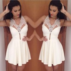 Sexy White Lace Chiffon Mini Dress – Daisy Dress For Less