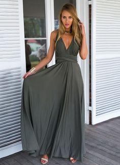 Polyester Plain Ärmellos Maxi Sexy Kleider