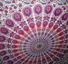hippie cotton Screen Print home Bedsheet Mandala Tapestry Wall Hanging Bedspread #Handmade