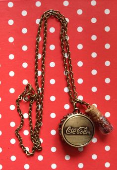 Coca-cola bottle top quartz pocket watch necklace charm with red and silver glitter bottle on a brass chain