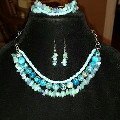 Triple strand necklace, bracelet, earring set Truetomyselfjewelry triple strand necklace has Jasper stone, aqua chips, turquoise beads with silver chain.  The matching bracelet has aqua chips and turquoise beads with silver chain.  The matching earrings have aqua chips and turquoise beads.  One of a kind. Jewelry Necklaces