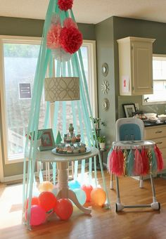 DIY Adventure themed birthday party - crepe paper teepee