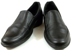 Ecco Shoes Mens Size US 10 10.5 D EUR 42 Black Leather Slip On Loafers #ECCO #LoafersSlipOns