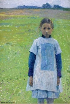"""""""Young Girl in the Field"""" by Henri Martin. Henri Fantin Latour, Georges Braque, Toulouse, Palette Verte, Champs, French Impressionist Painters, Field Paint, Oil Painting Reproductions, Fashion Painting"""