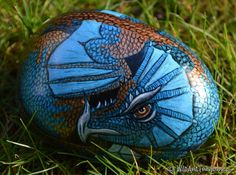 Hand Painted Rocks: Sky Dragon by WildArtTreasures on Etsy