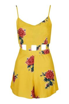 NEW TOPSHOP CELEBRITY YELLOW FLORAL CUT OUT PLAYSUIT 6 to 14 BLOGGERS FAVE