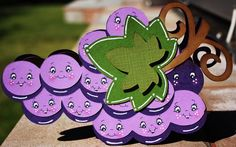 "Purple grape #card using #Preserves #cricut cartridge at 7"" and the Peachy Keen faces from Wide Eyed Kids. #stamping"